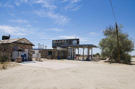 Usa, California, Desert, Route 66, Old Gas Station