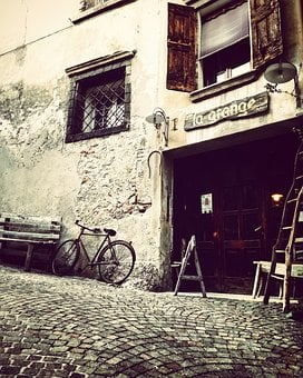 Asolo, Via, Calle, Bar, Bicycle, Desolation, Antiquated