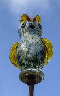 Glass Owl, Art, Figure, Bird, Glass