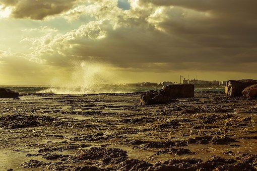 Rocky Coast, Sea, Sky, Clouds, Storm, Wave, Smashing