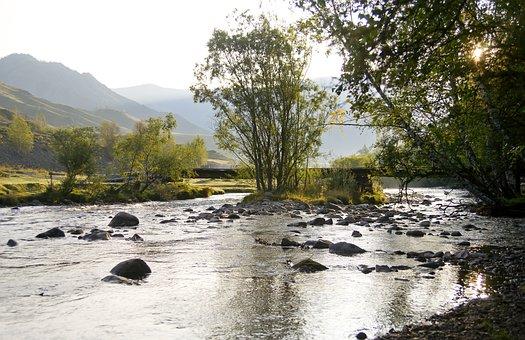 Landscape, River, Nature, Mountains, Beach, Travel, Sky