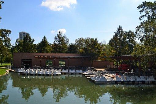 Boat Ride, Herman Park, Sky, Lake, River, Nature