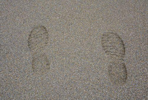 Footprints Feet, Beach, Sand, Beige, Wet Sand