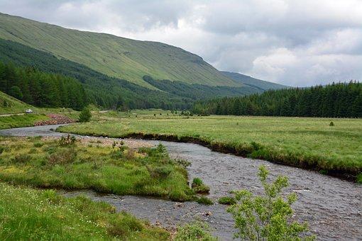 Scotland, Nature, Mountains, Brook, Landscape