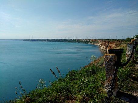 Shoreline, Sea, Sky, Grass, Green, Blue