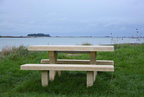 Table Bench, Stone Table, Picnic, Sea View