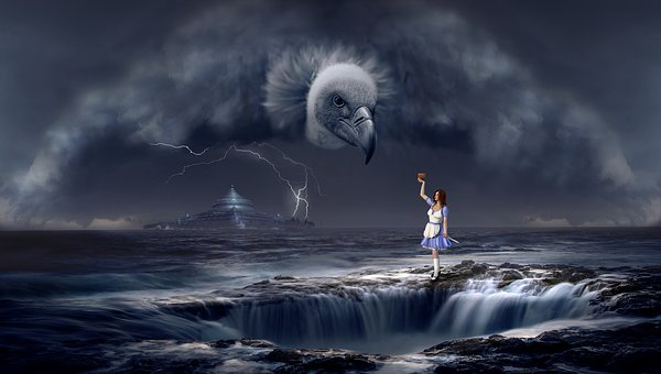Fantasy, Vulture, Sea, Woman, Storm, Flash, Temple