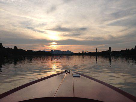 Vienna, Danube, Sunset