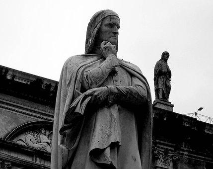 Verona, Veneto, Italy, Statue, Dante, Black And White