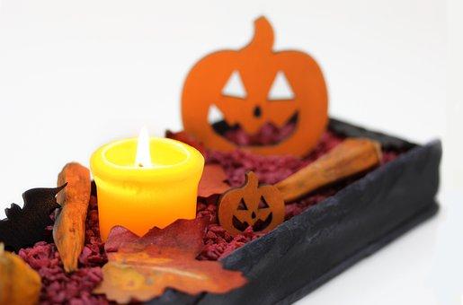 Pumpkin, Candle, Leaves, Halloween, Autumn