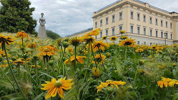 Norway, King House, Castle, Flowers, Royal Castle