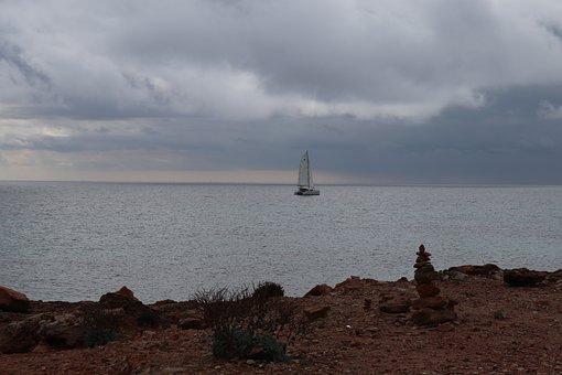 Clouds, Sea, Ship, Coast, Mood, Mallorca, Stone Coast