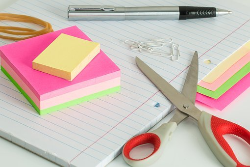 Post It Notes, Desk, Clutter, Scissors, Pen