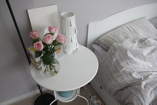 Flowers, Rose, Bedroom, Bed, Table, Lighting, Interior