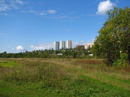 Landscape, City, At Home, Sky, Blue, Clouds, Summer