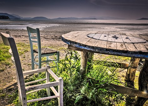 Loneliness, Lonely, Table, Sea, Water, Landscape