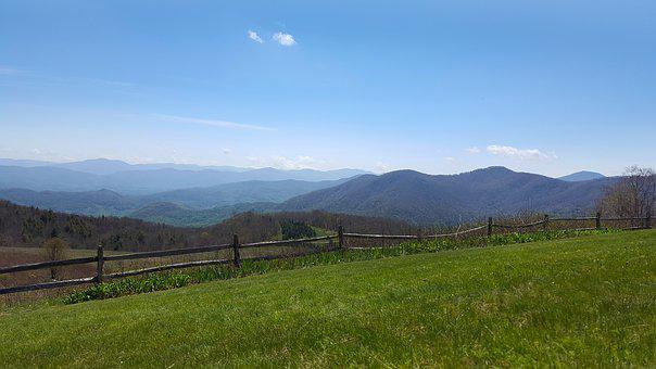 Mountains, Skyline, Fence, Maggie Valley, Blue Ridge