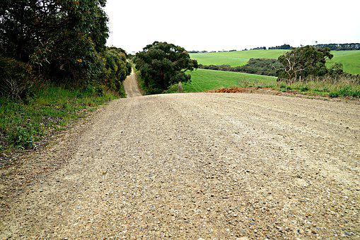 Downhill, Country Road, No Traffic, Gravel Road