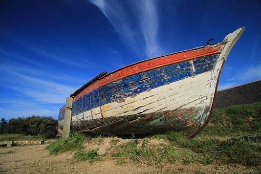 Boat, Sky, Blue, Sea, Water, Beach, Ocean, Fishing