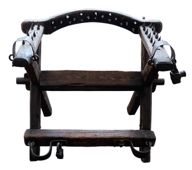 Chair, Torture Chair, Oak, Pointed, Iron, Shackles