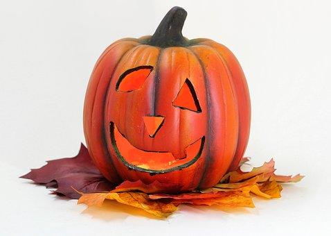 Pumpkin, Lantern, Leaves, Halloween, Autumn