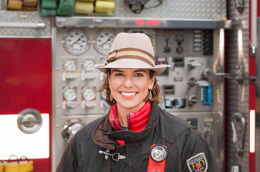 Female, Reporter, Fire Truck