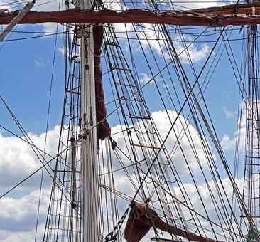Rigging, Sailing Vessel, Tall Ship, Mast, Sail, Cordage