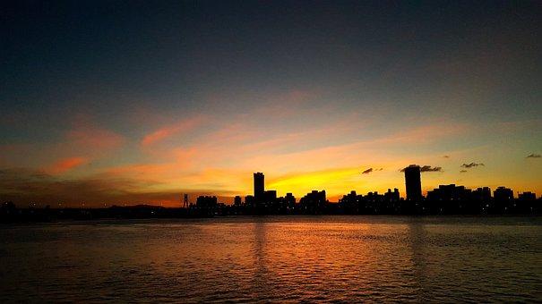Sunset, Sky, Taiwan, Taipei, River, Evening, Horizon