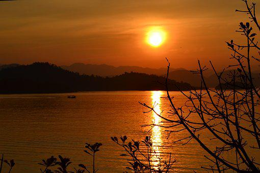 Thailand, Wall, Sunset, Landscape, Kaengkrachan