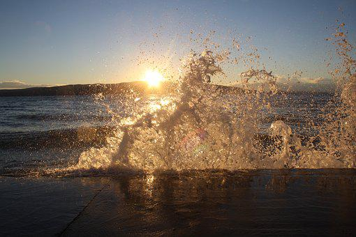 Croatia, Krk, Senj, Sunset, Wave, Water, Gout, Sea