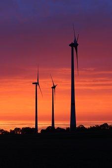 Windräder, Sunrise, Morning, Pinwheel, Morgenrot, Sky