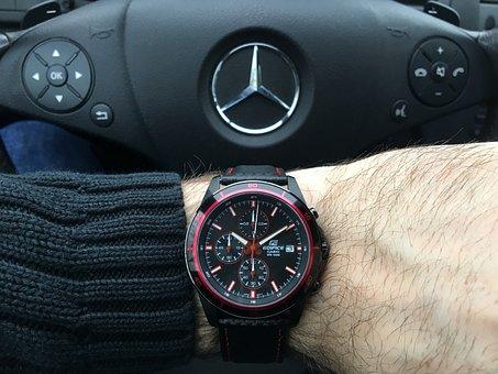 Watch, Wristwatch, Casio, Car, Steering Wheel, Mercedes