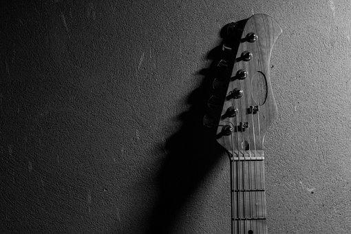 Black And White, Guitar, No One, Street, Art, Music