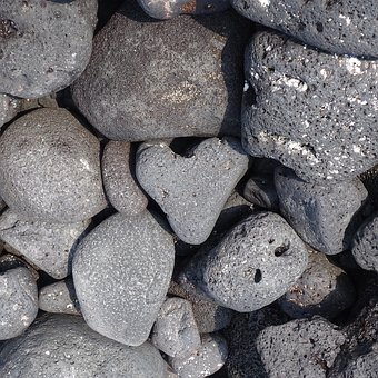 Rocks, Kona, Hi, Heart, Heart-shaped, Grey, Gray, Beach