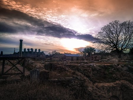 Ruins, Nicopolis, Sunset, Ancient, Columns, Romantic