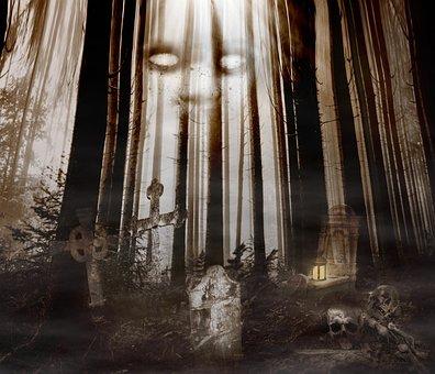 Graves, Forest, Creepy, Halloween, Cross, Undead