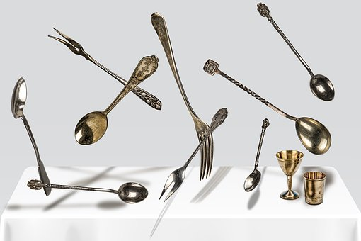 Spoon, Fork, Cutlery, Silver, Glass, Laying, Falling