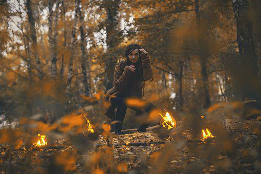 Fire, Autumn, Shaman, Girl, Twilight, Forest, Gothic