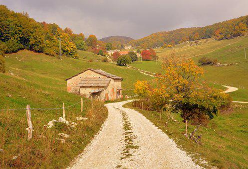Road, Mountain, House, Trees, Forest, Nature, Landscape