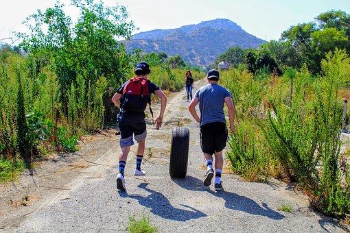 Running, Fun, Funny, People, Boys, Tire, Wheel, Path