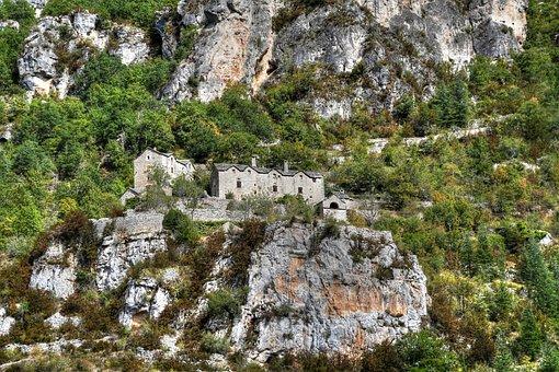 Rock, House, Gorges Du Tarn, Trees