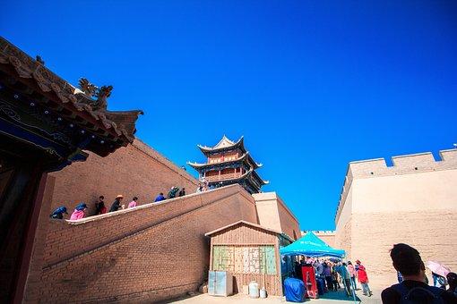 Jiayuguan, City Gate Tower, Blue Sky