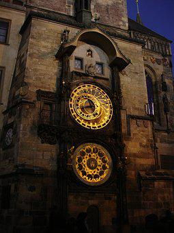 Prague, The Astronomical Clock, Night, Old Town Hall