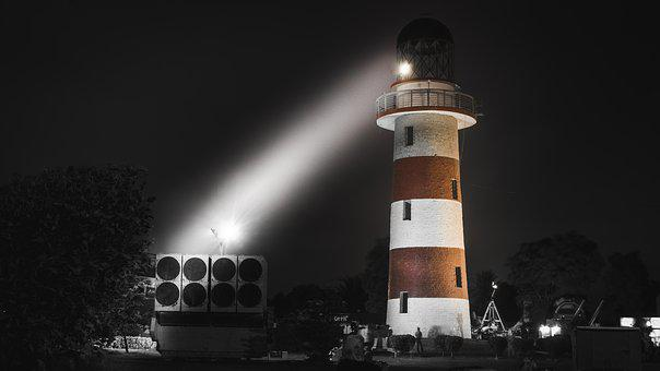 Lighthouse, Night, Light, Military, Coast, Travel