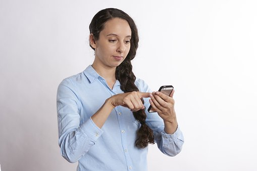 Texting, Smiling, Phone, Looking, Person, Mobile