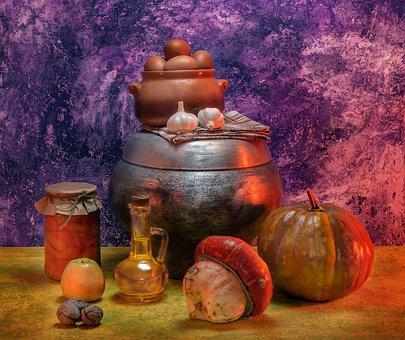 Pumpkin, Apple, Nuts, Still Life, Cooking Food, Food