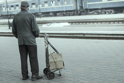 Station, Old Age, Road, Life Style, Grandpa