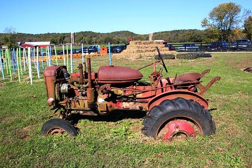 Tractor, Old, Sunken, Machinery, Vintage, Rusty, Rural