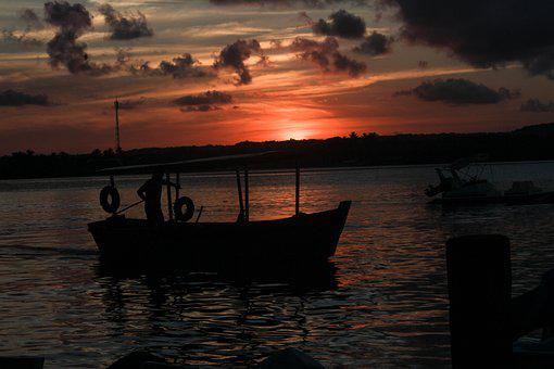 Sunset, Boat, Quiet, Horizon, Nature, By Sunsets
