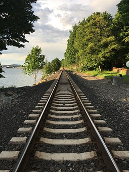 Railroad, Train, Water, Perspective, Distance, Journey